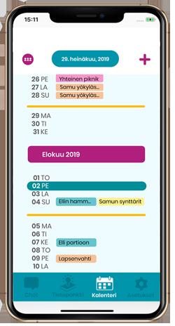 ETKL – Kaksi kotia -mobiilisovellus - Kalenteri